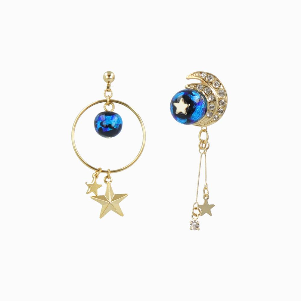 Ruri Glass Bead Asymmetrical Celestial Earrings - osewaya