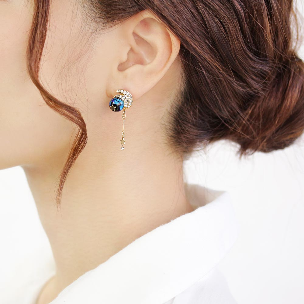 Ruri Glass Bead Asymmetrical Celestial Earrings