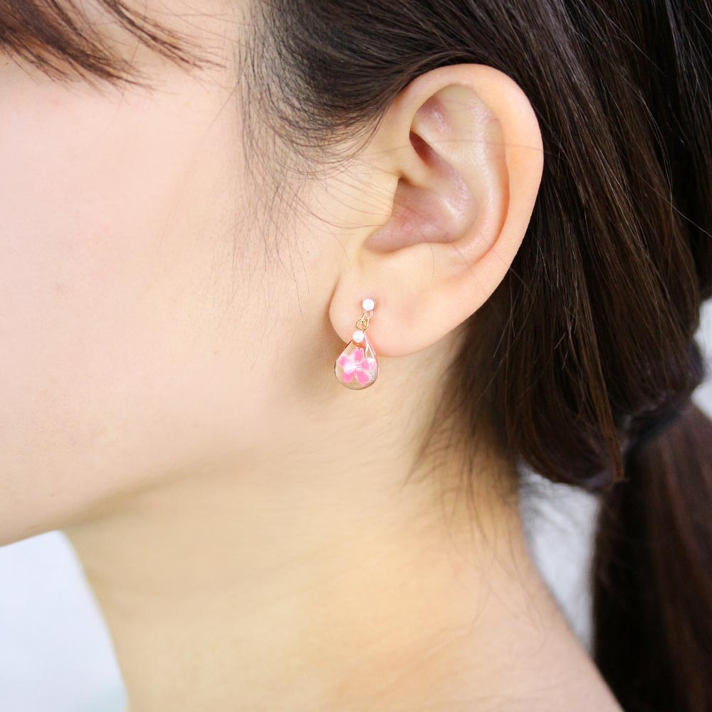Cherry Blossom Japanese Sakura Teardrop Plastic Post Earrings