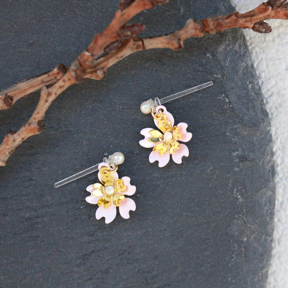 Cherry Blossom Japanese Sakura Drop Plastic Post Earrings