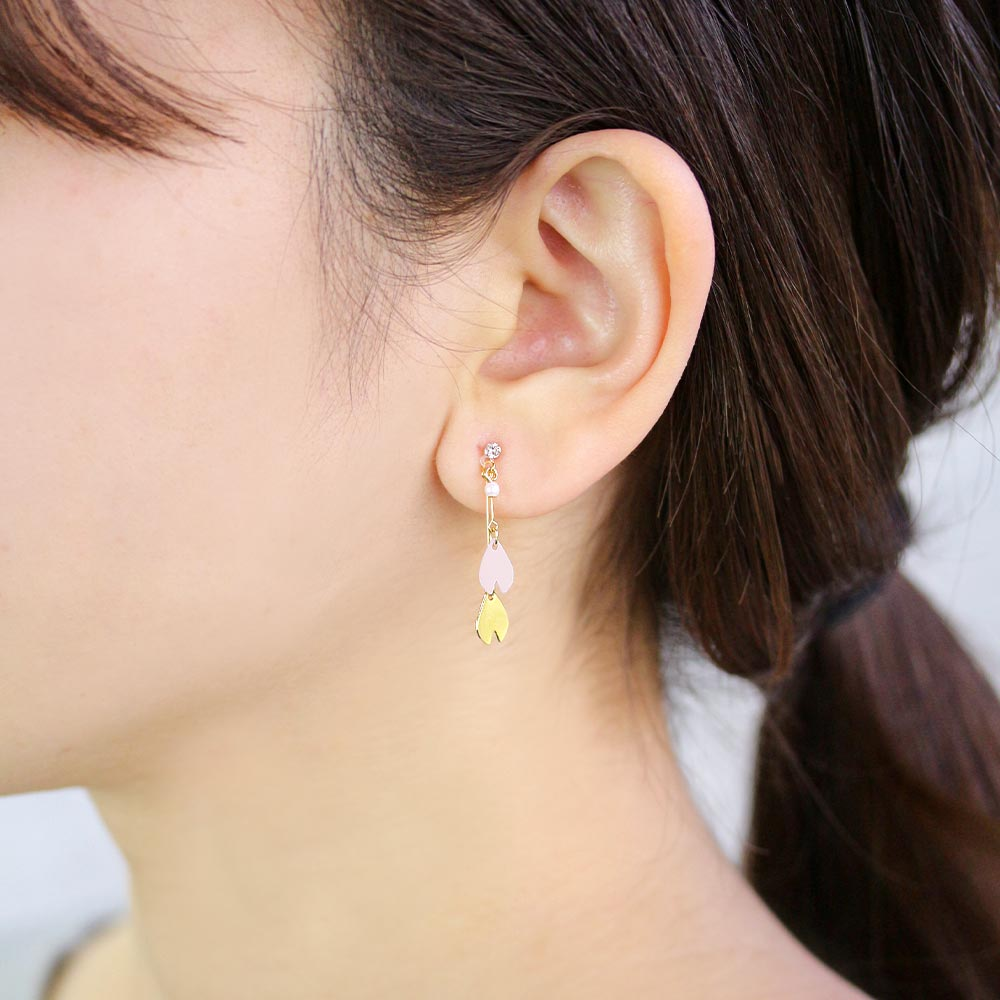 Japanese Sakura Petal Drop Plastic Post Earrings