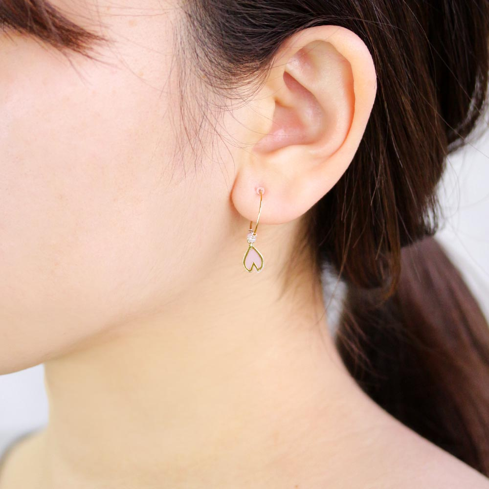 Dangling Sakura Petal C-Shaped Plastic Post Earrings
