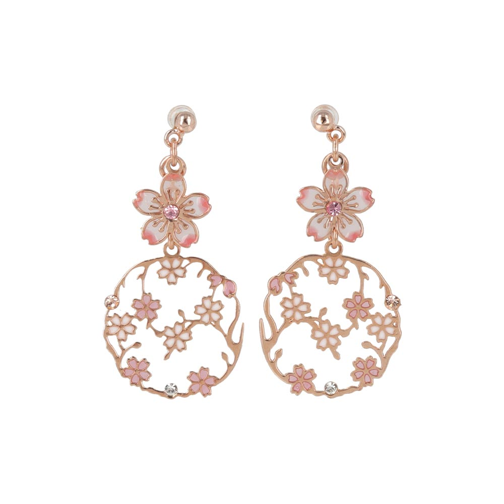 Cherry Blossom Openwork Disc Drop Non Pierced Earrings
