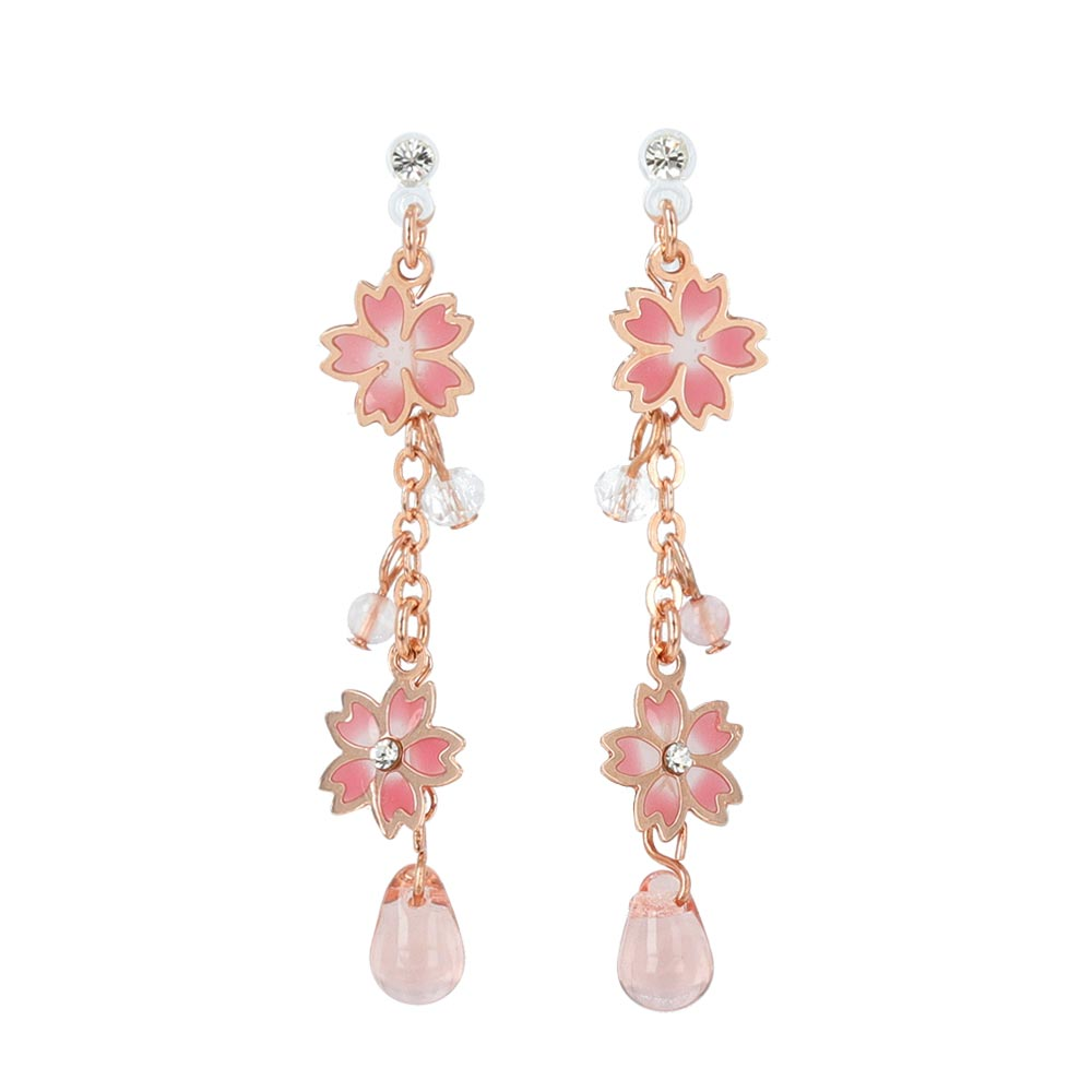 Cherry Blossom Sakura Linear Invisible Clip On Earrings