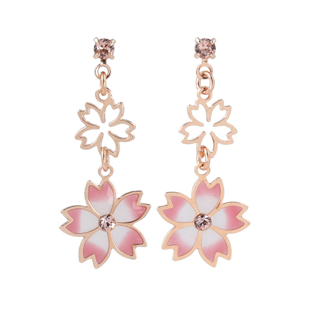 Cherry Blossom Sakura Double Drop Earrings - osewaya