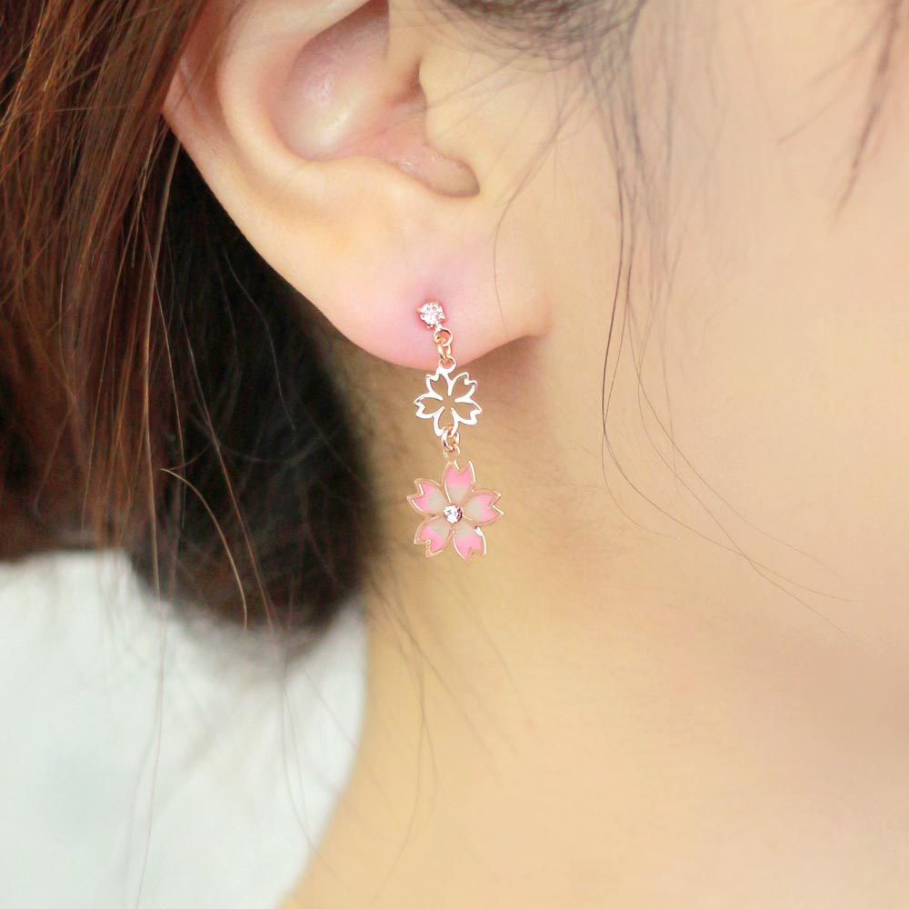 Cherry Blossom Sakura Double Drop Earrings