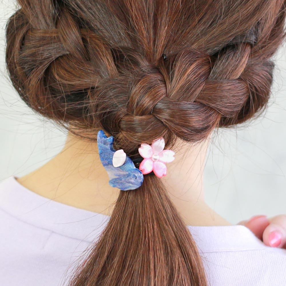 Cat and Cherry Blossom Ponytail Holder