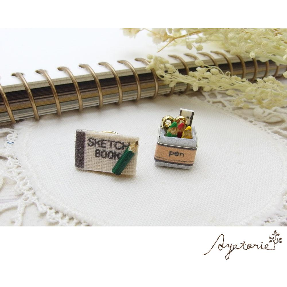 osewaya - Miniature Sketchbook and Pens Earrings - Ayatorie - Earrings