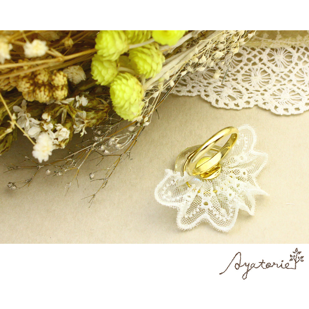 Lace and Pearl Ring - Osewaya