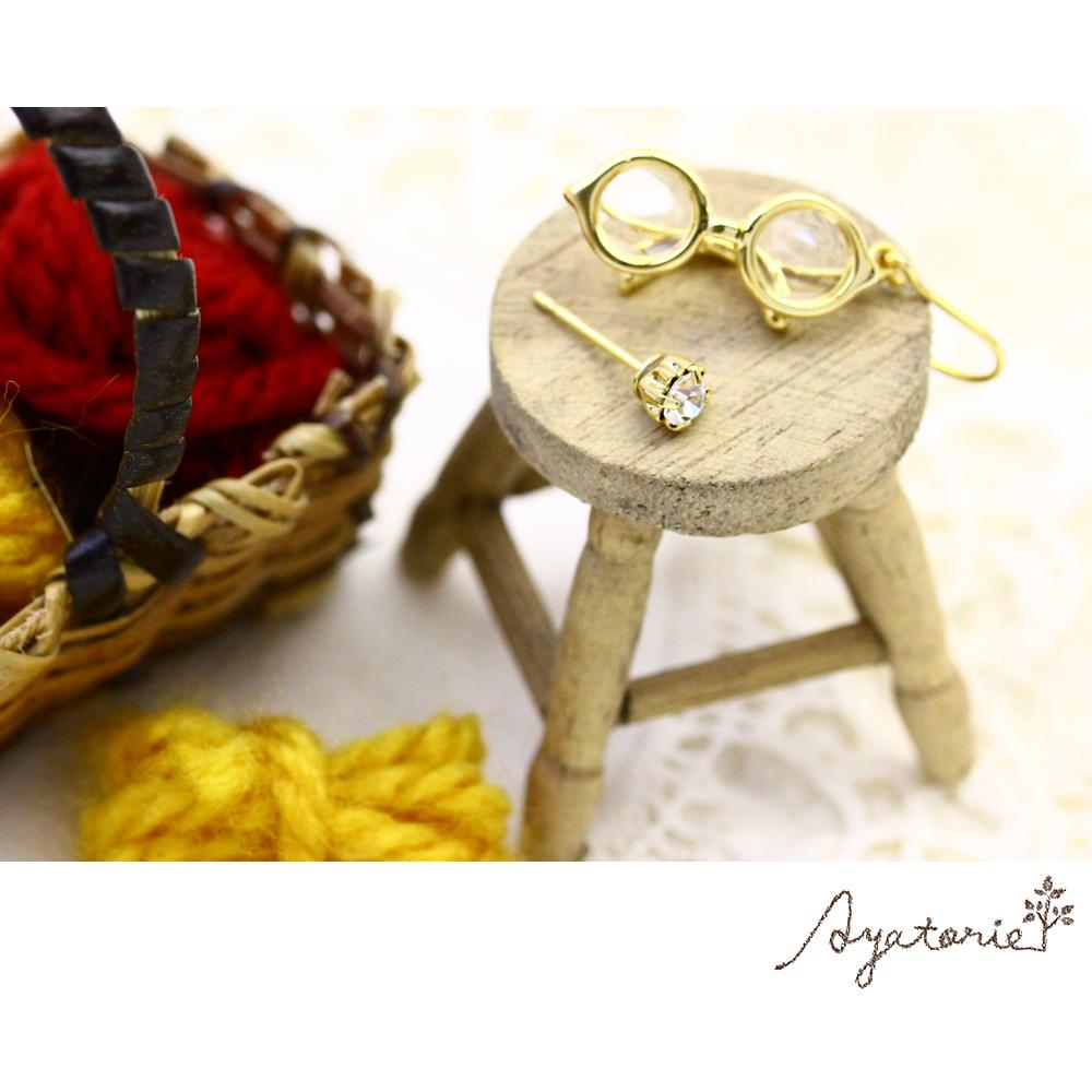 Gold Frame Oval Glasses Earrings - Osewaya