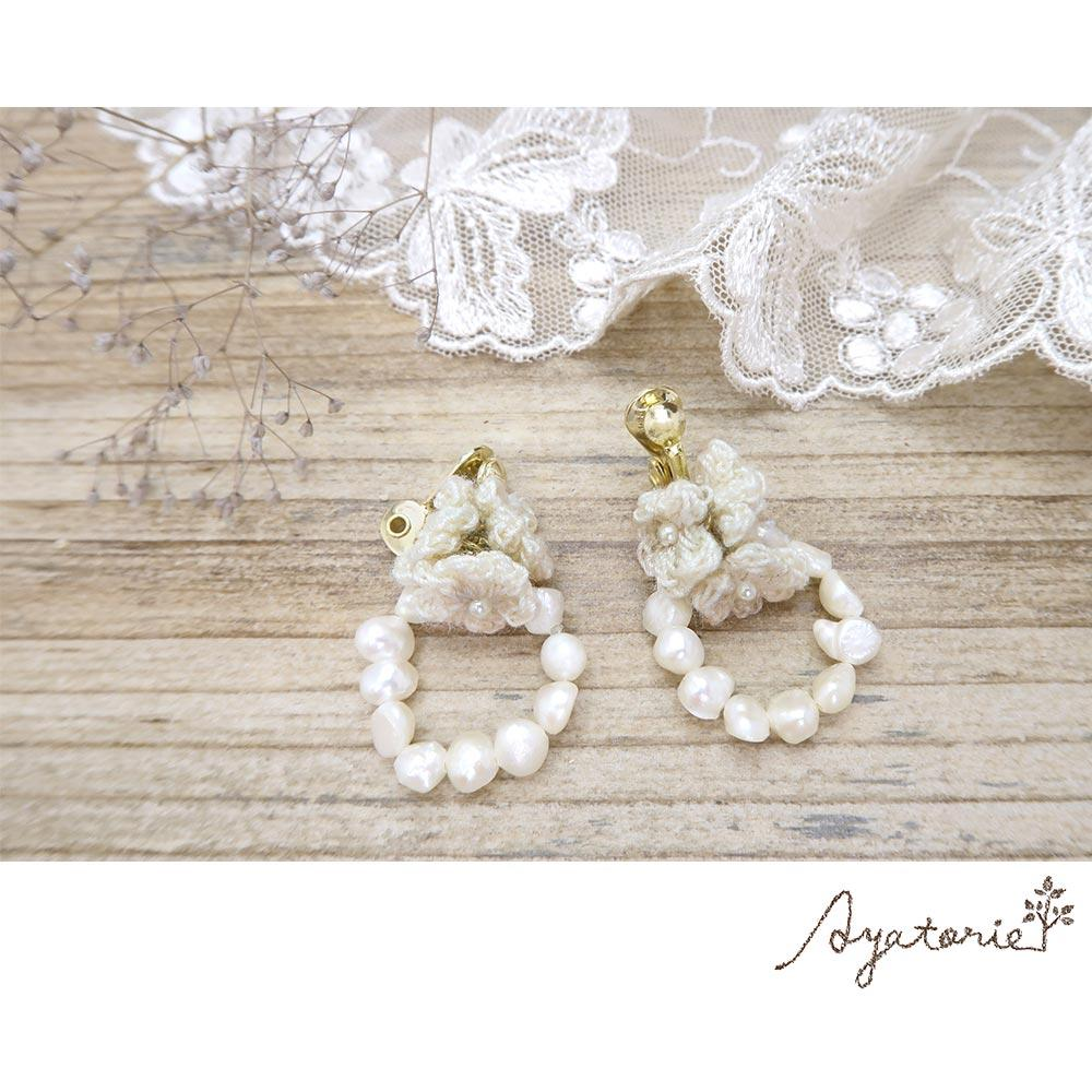 osewaya - Flower Wreath Clip On Earrings - Ayatorie - Earrings