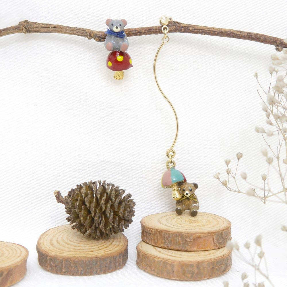 Teddy Bear and Mushroom Earrings - Osewaya