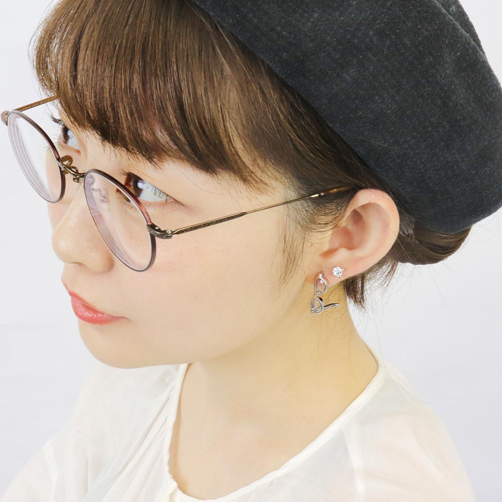 Tiny Eyeglasses Earrings in Silver Tone