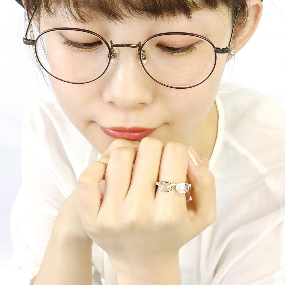 Tiny Eyeglasses Ring in Silver Tone