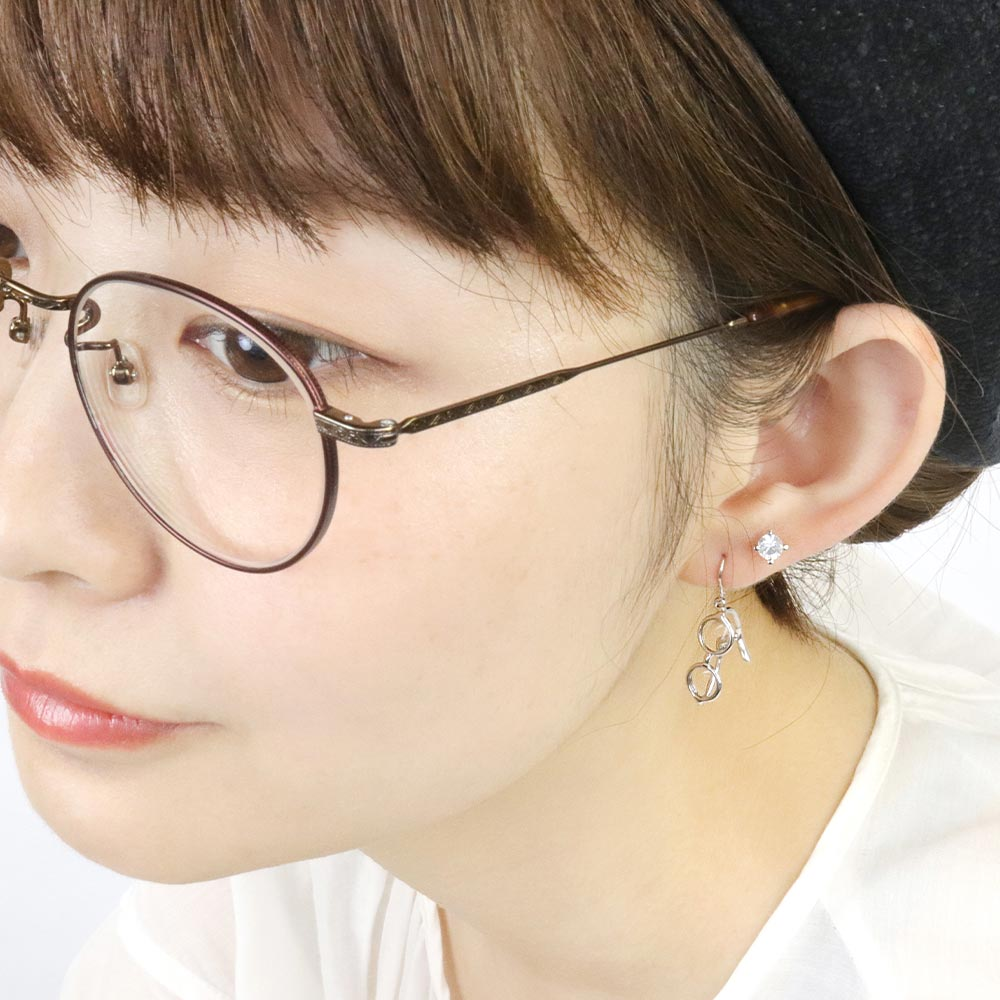 Tiny Round Eyeglasses Drop Hook Earrings in Silver Tone