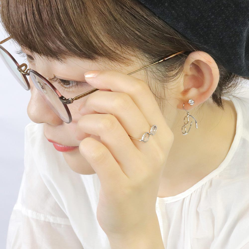 Tiny Round Eyeglasses Ring in Silver Tone