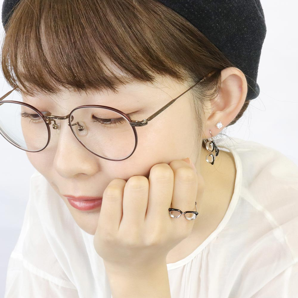Tiny Browline Glasses Drop Hook Earrings