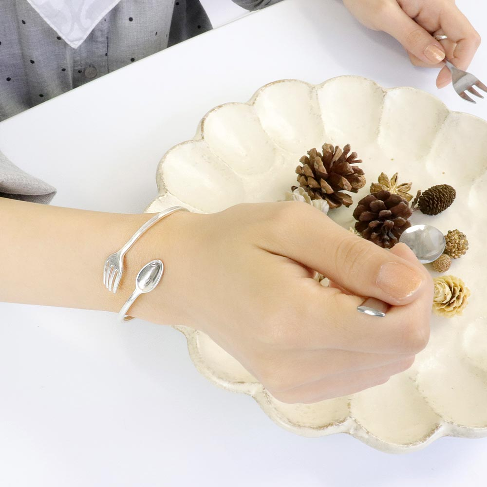Spoon and Fork Cutlery Open Bangle