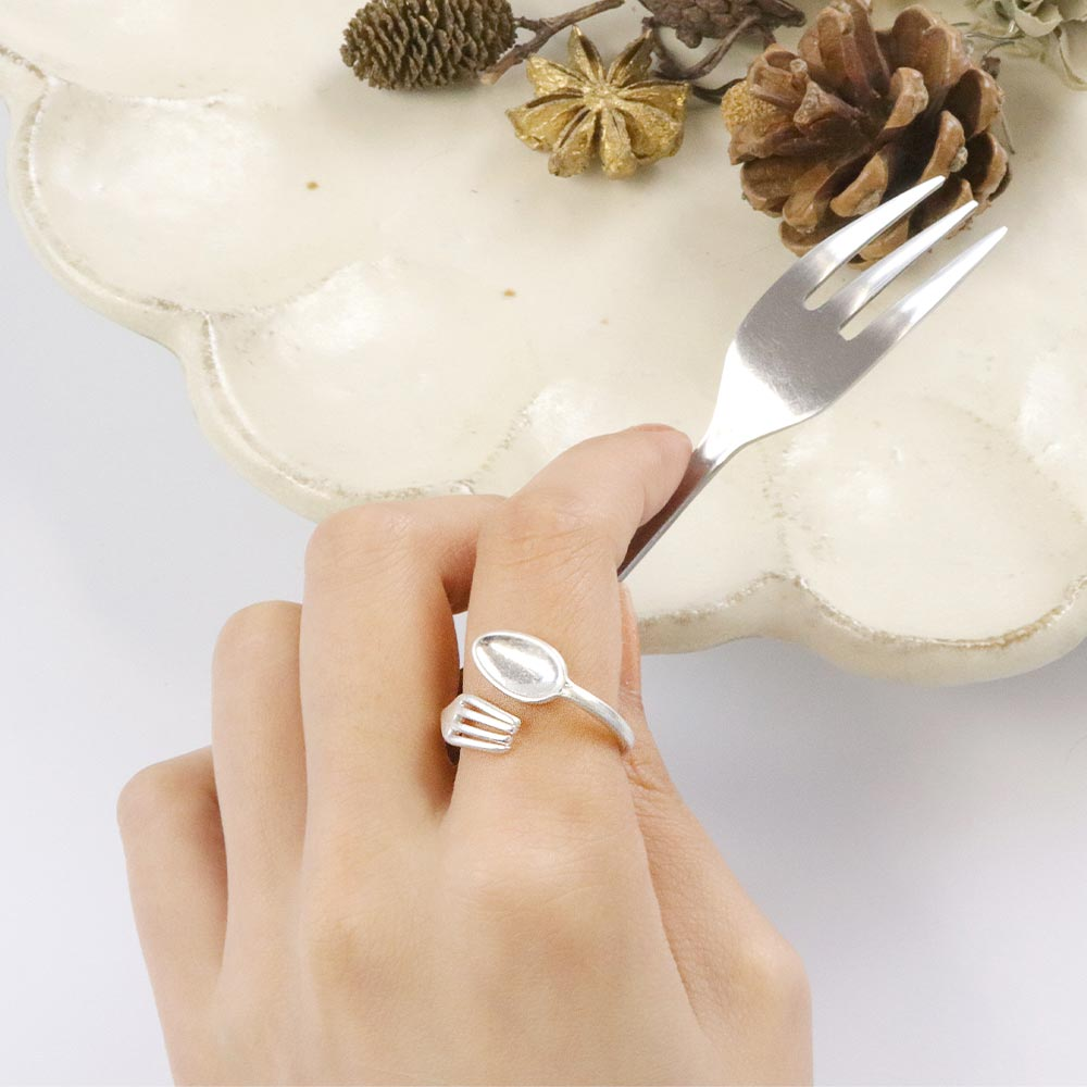 Spoon and Fork Cutlery Open Ring