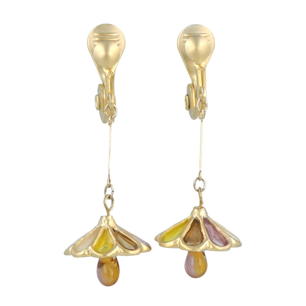 Retro Glass Shade Lamp Clip On Earrings - osewaya