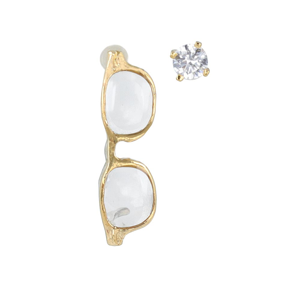 Gold Tone Miniature Glasses Earrings - osewaya