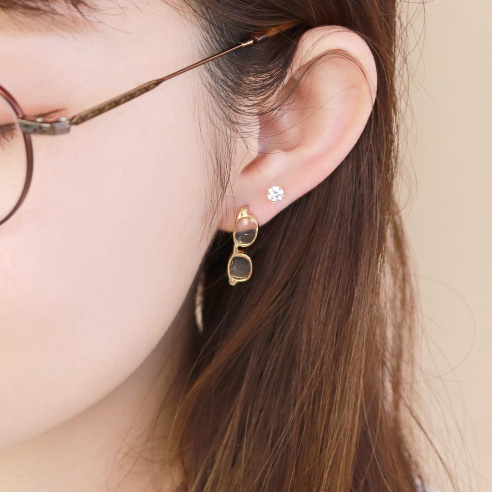 Gold Tone Miniature Glasses Earrings