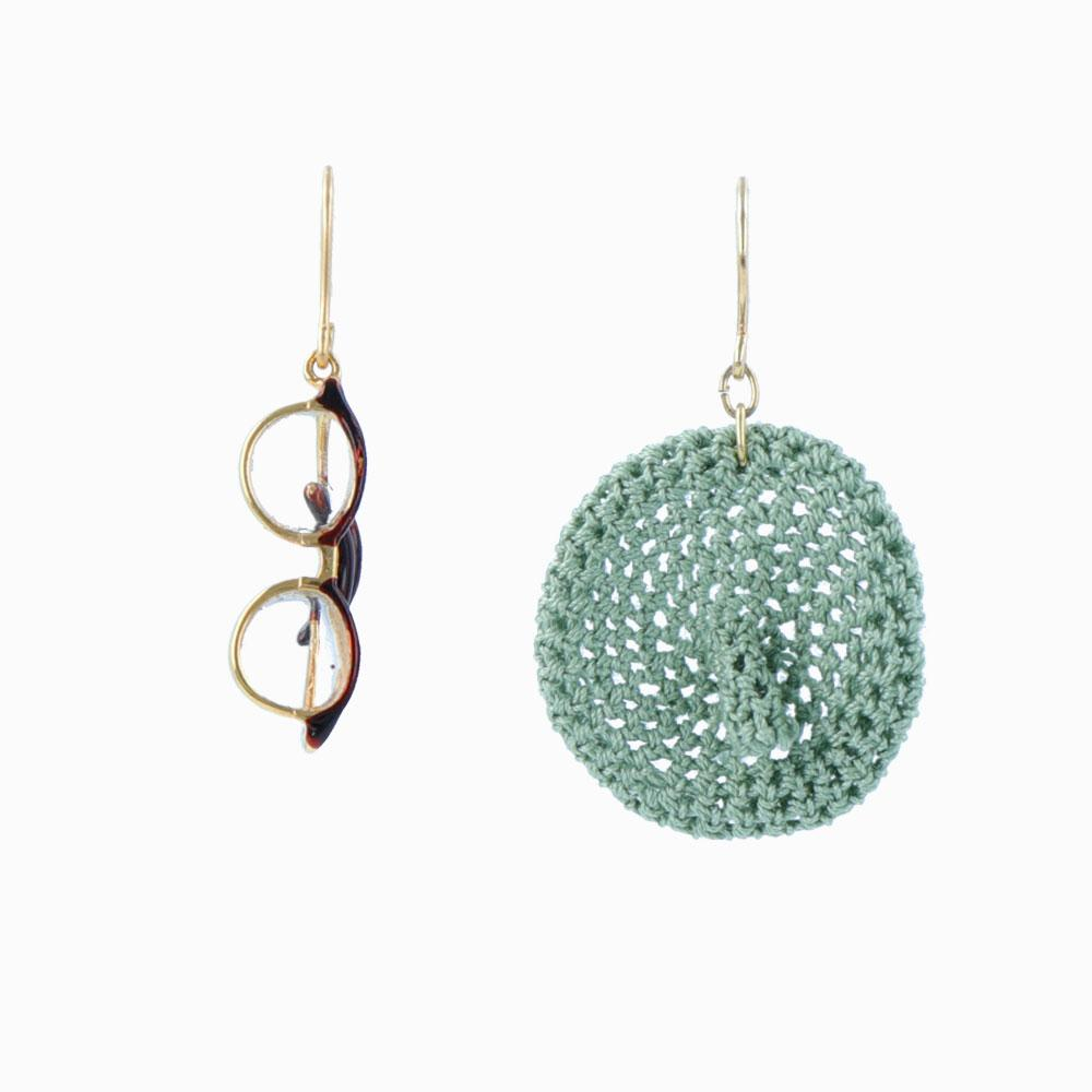 Glasses and Beret Mismatch Drop Earrings - osewaya