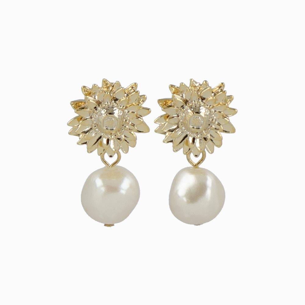 Sunflower and Pearl Invisible Clip On Earrings