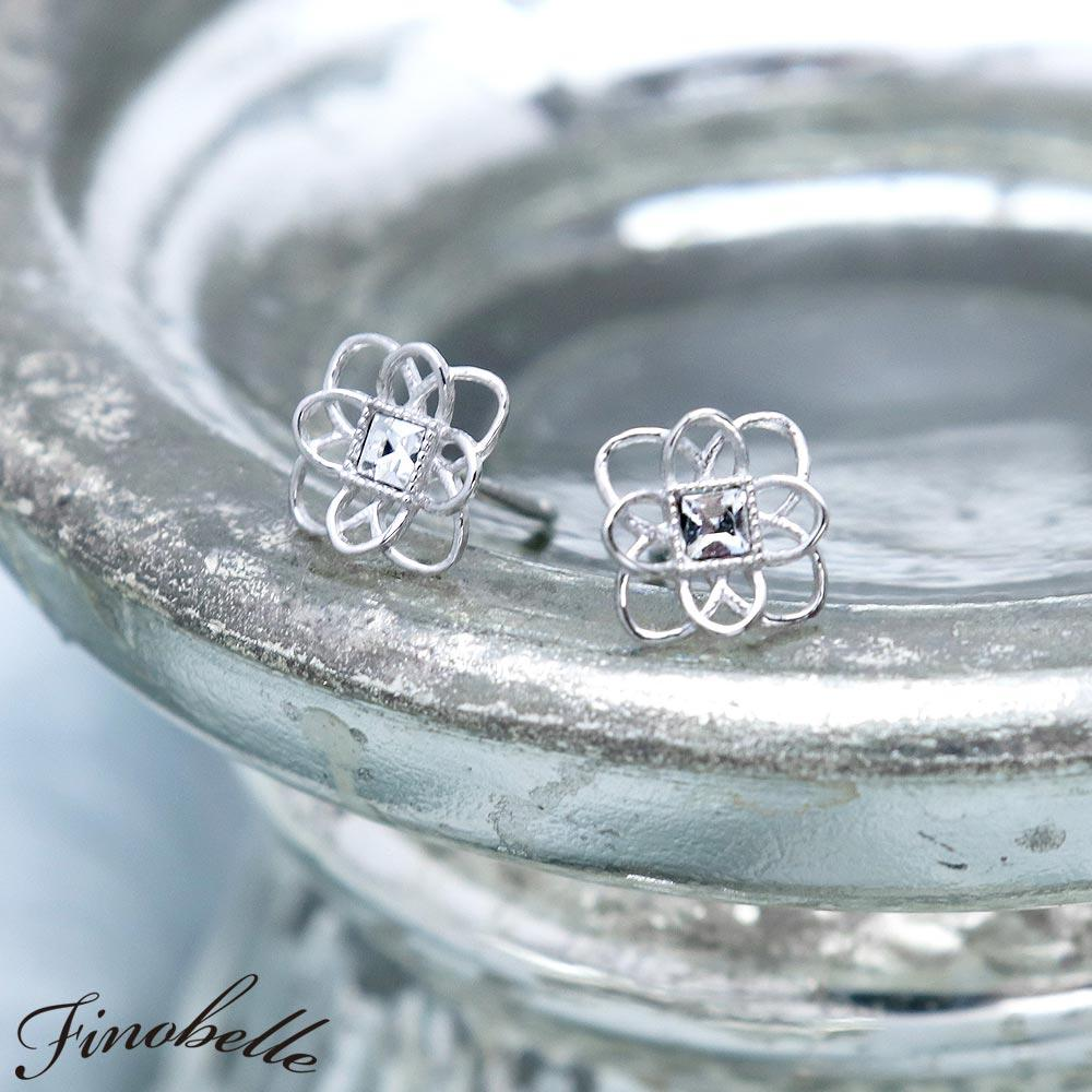 Nickel Free Openwork Flower Platinum Plating Ear Studs Earrings - Osewaya