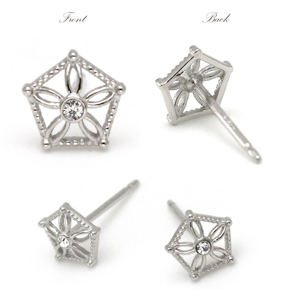 Nickel Free Openwork Flower Pentagon Platinum Plating Ear Studs Earrings