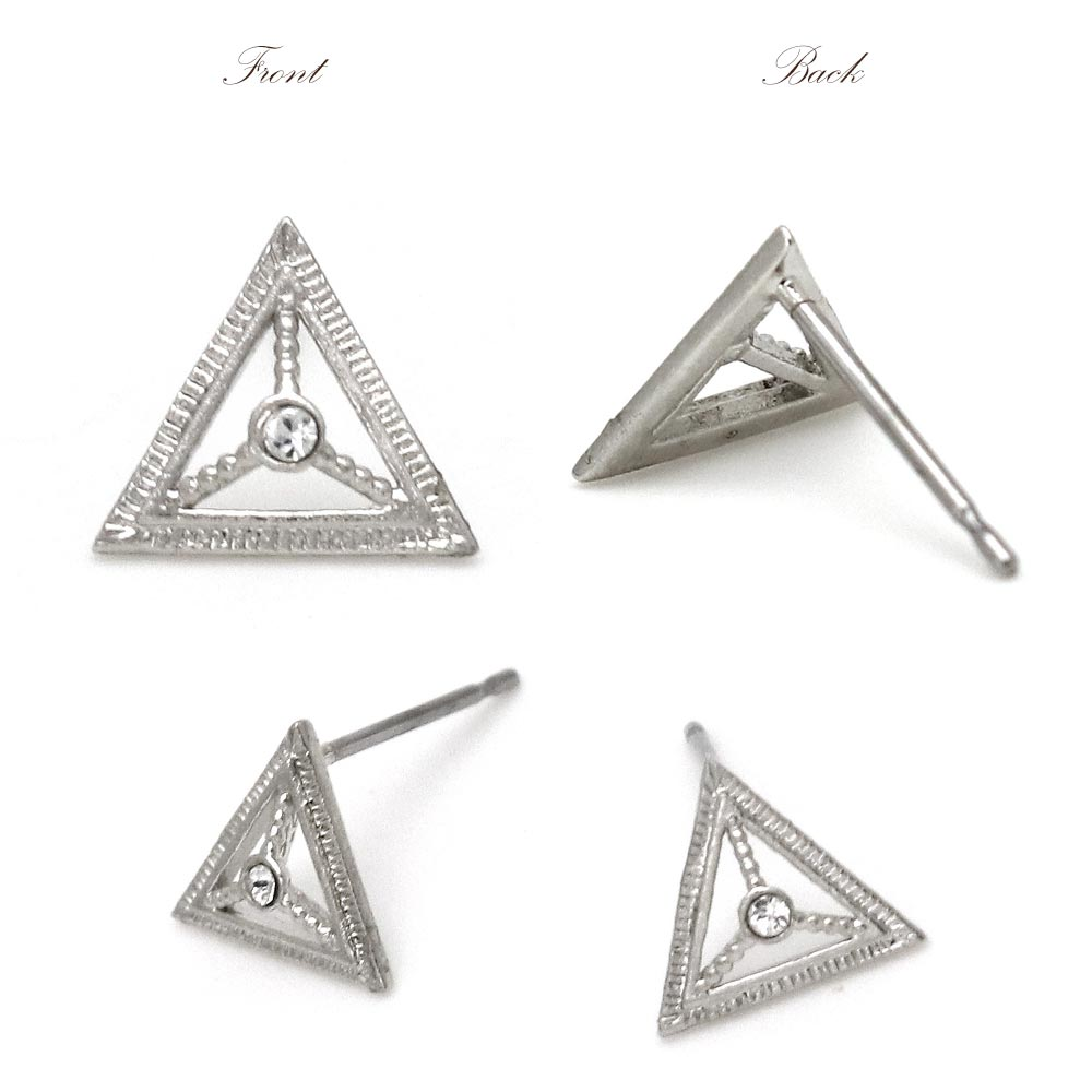 Nickel Free Openwork Triangle Platinum Plating Ear Studs Earrings