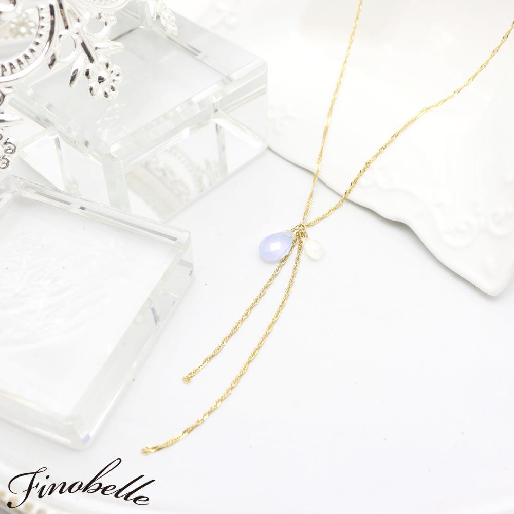 Blue Chalcedony and Moonstone Y-Shaped Necklace - Osewaya