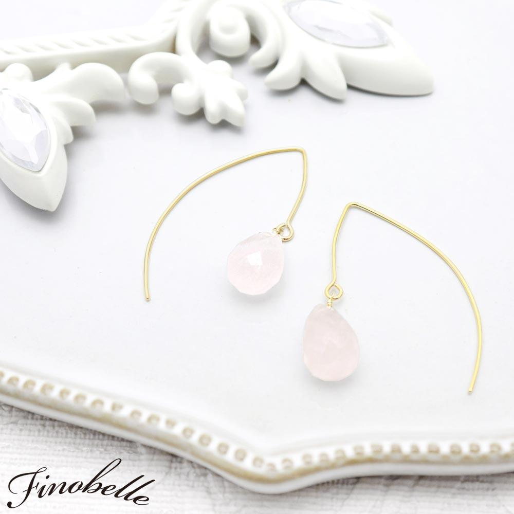 Rose Quartz Wire Through Earrings - Osewaya