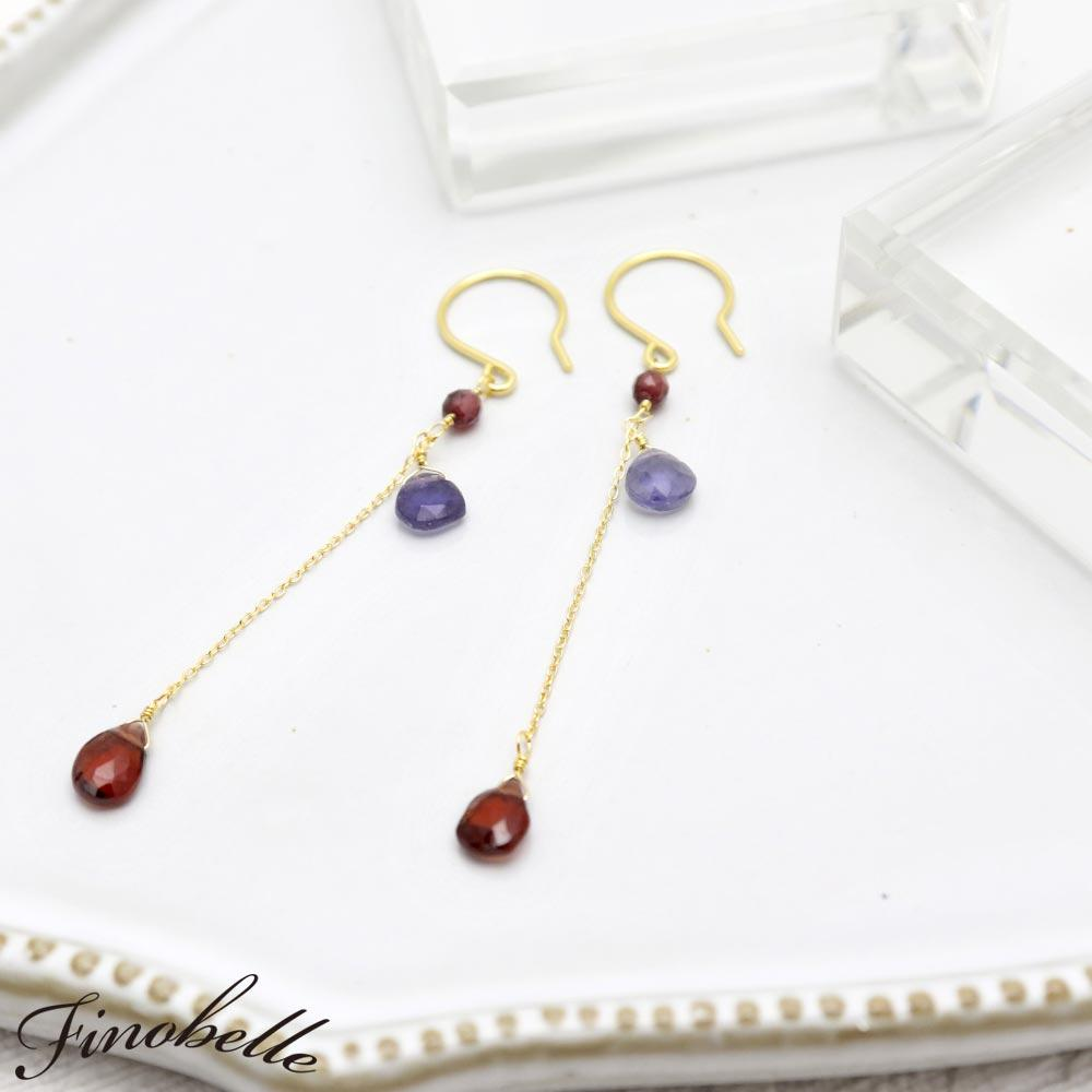 Garnet and Iolite Chain Drop Earrings - Osewaya