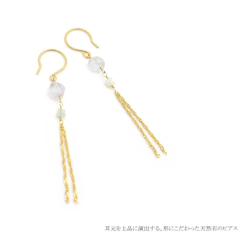 Opal and Quartz Chain Tassel Earrings - Osewaya