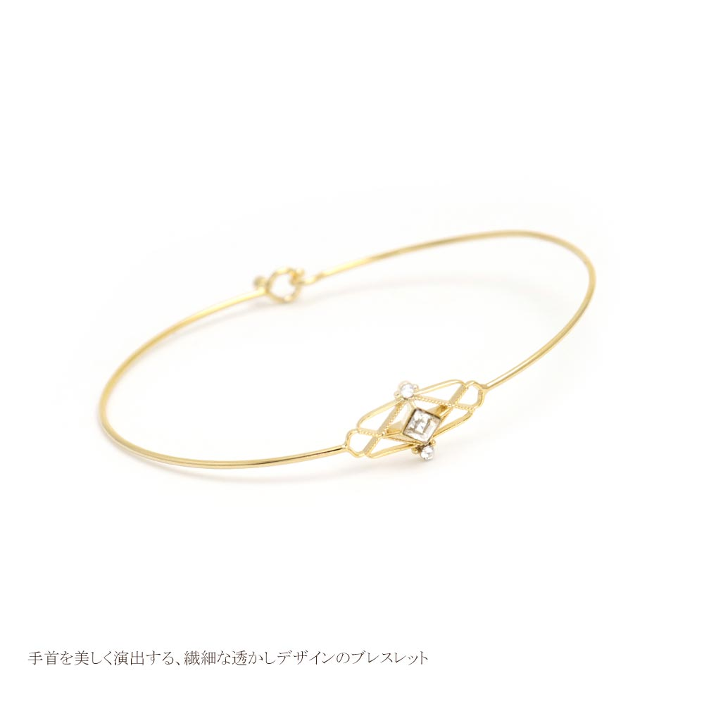 Openwork Rectangle with Stone 22K Gold Plated Bracelet - Osewaya