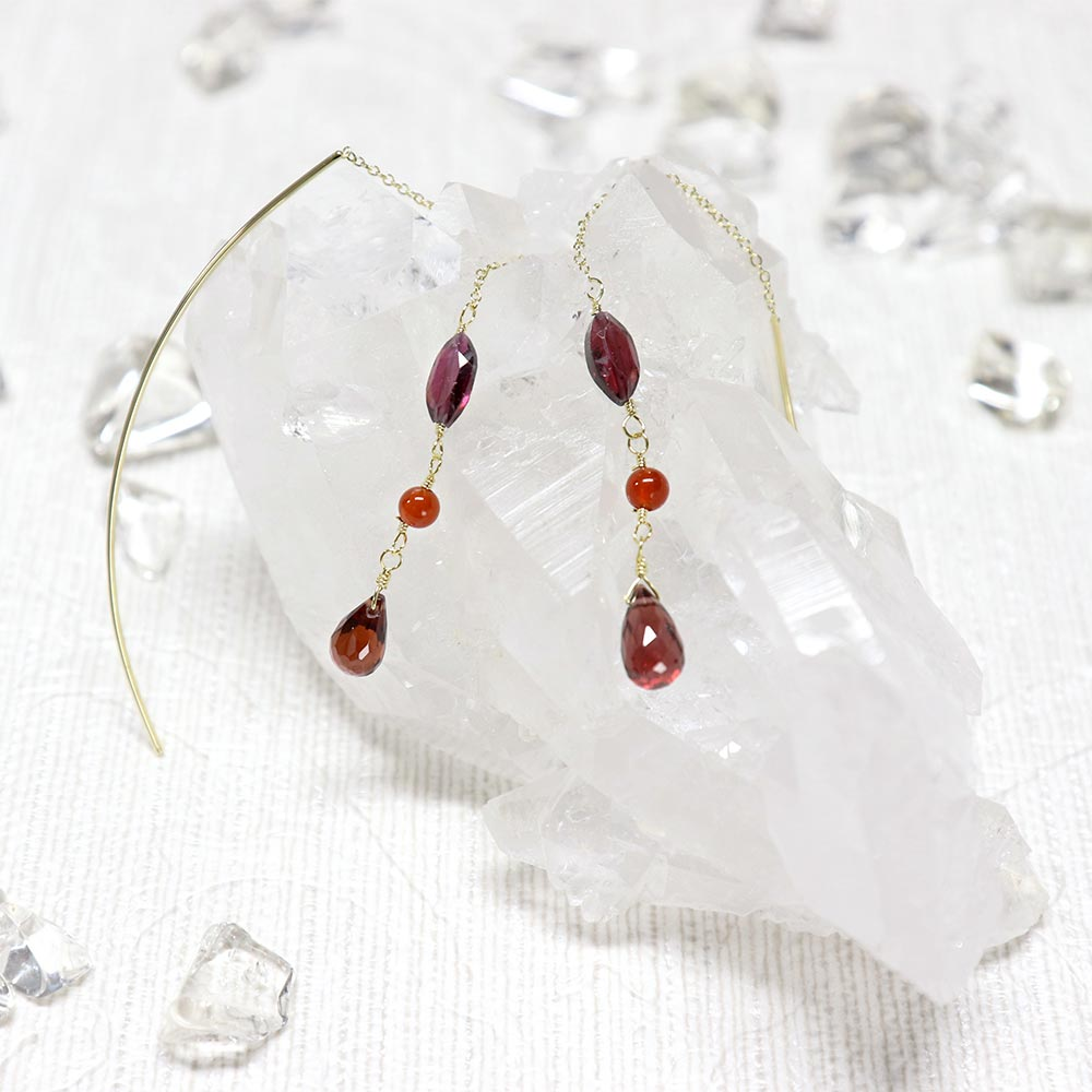 Threader Through Earrings Agate and Garnet - Osewaya