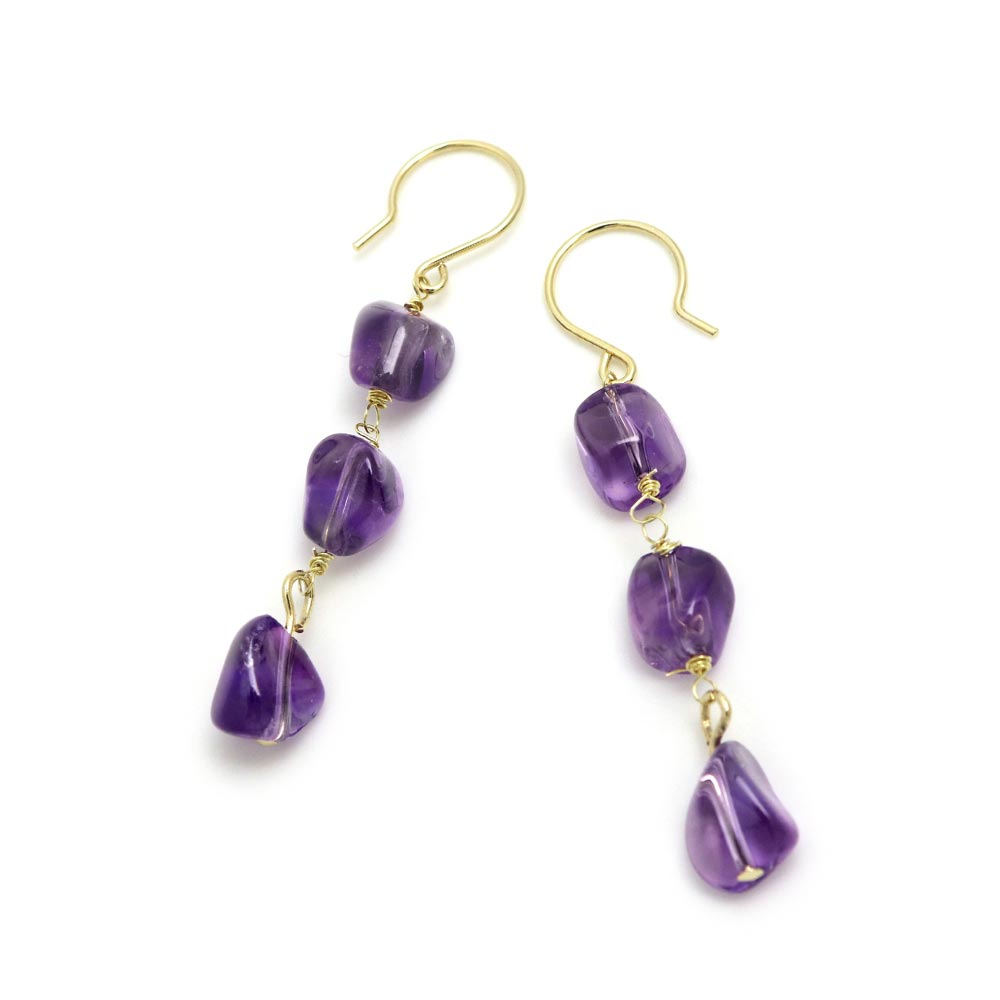 Triple Gem Drop Earrings Amethyst - Osewaya