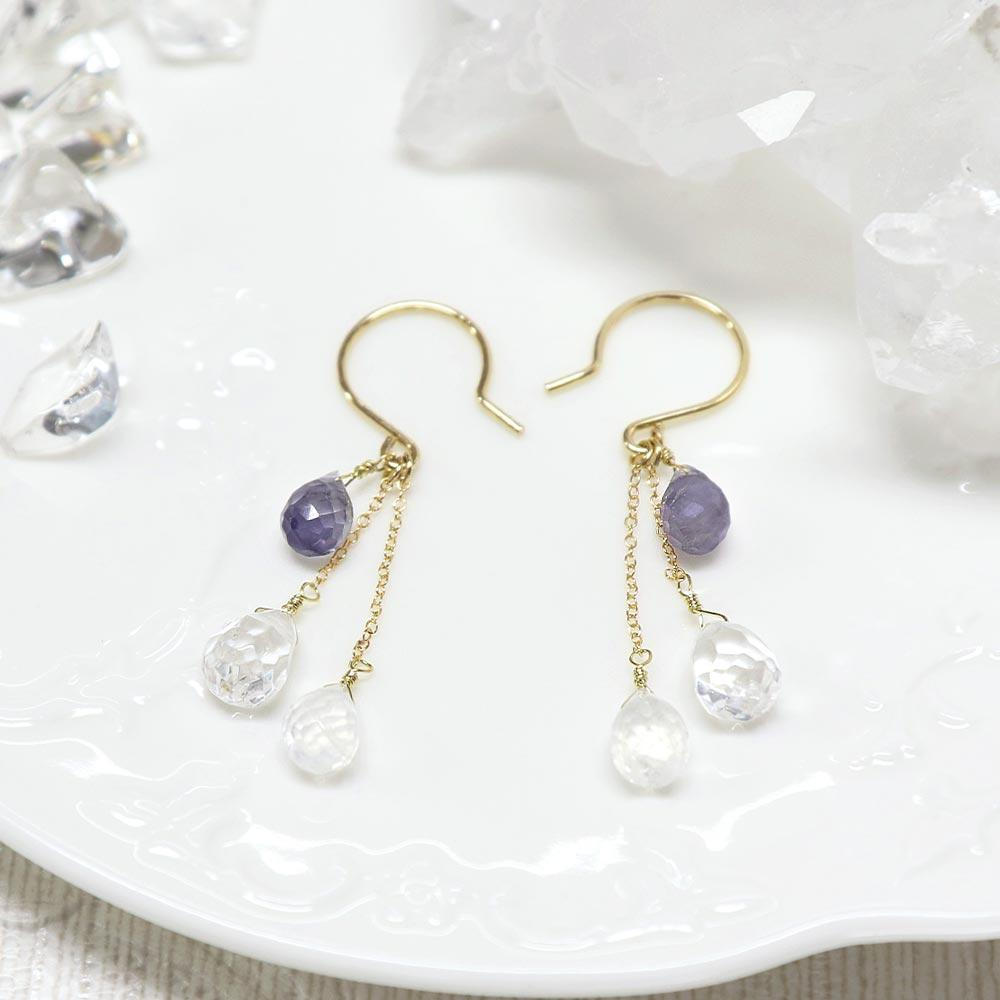 Multi Drop Earrings Iolite and Quartz - Osewaya