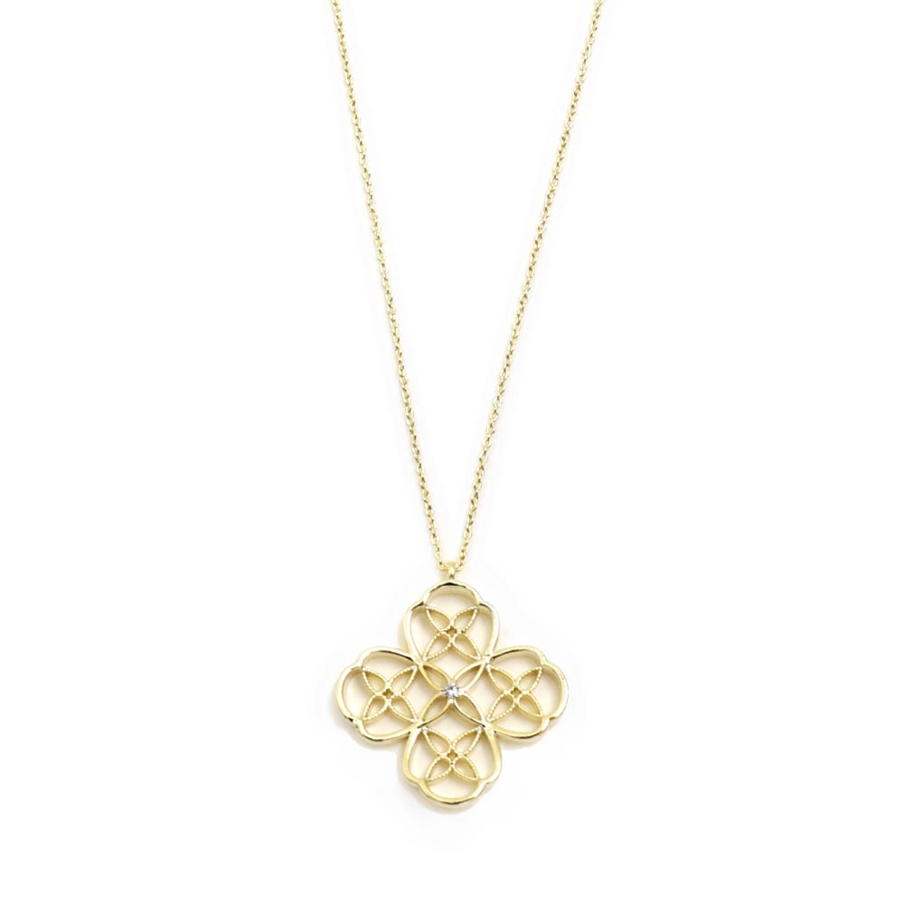 Filigree Clover Cross Long Necklace - Osewaya