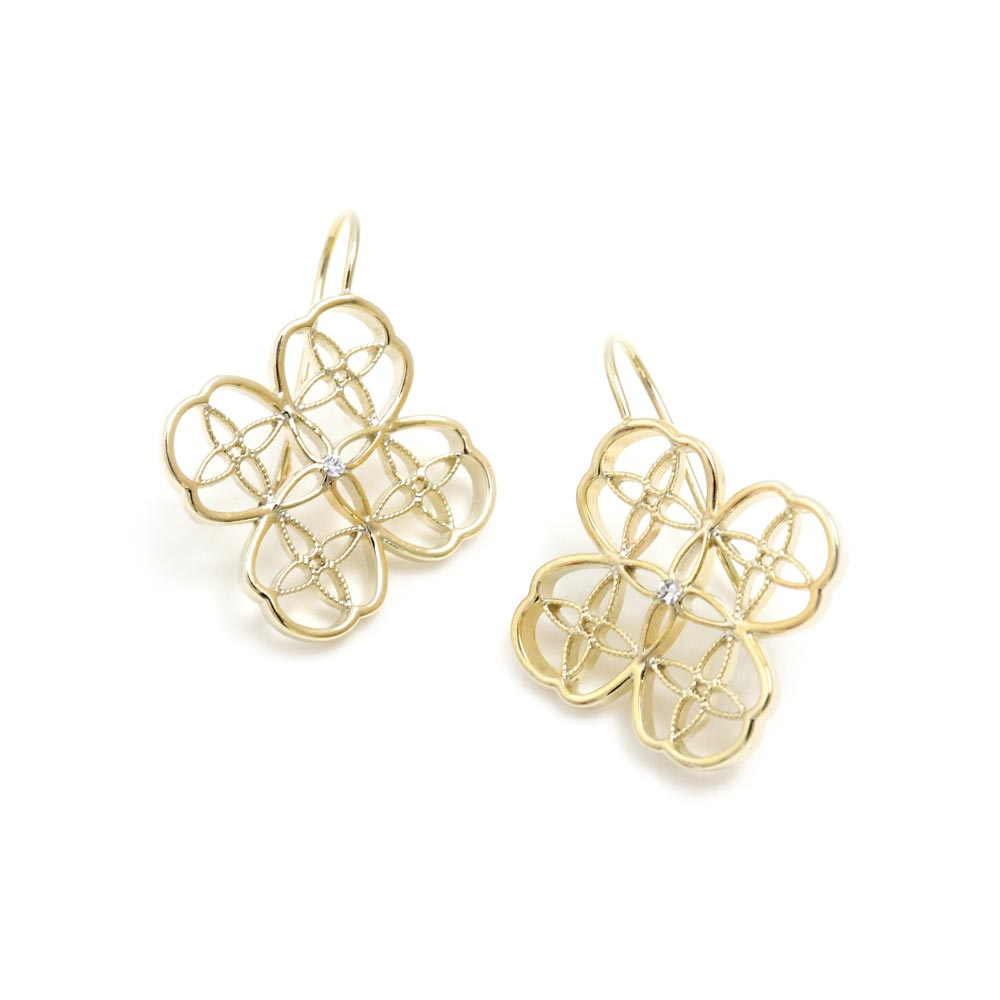 Filigree Clover Cross Earrings - Osewaya