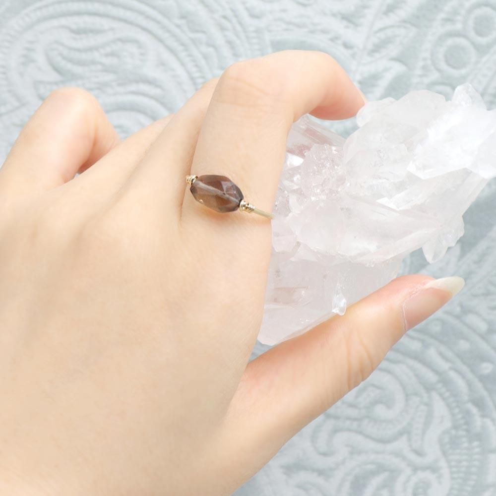 Sterling Silver  Smokey Quartz Wire Ring - Osewaya