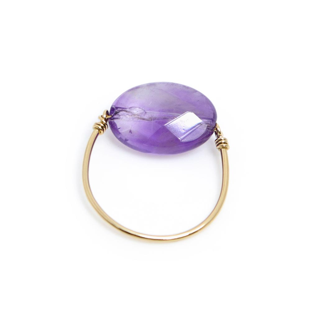 Sterling Silver Amethyst Wire Ring - Osewaya