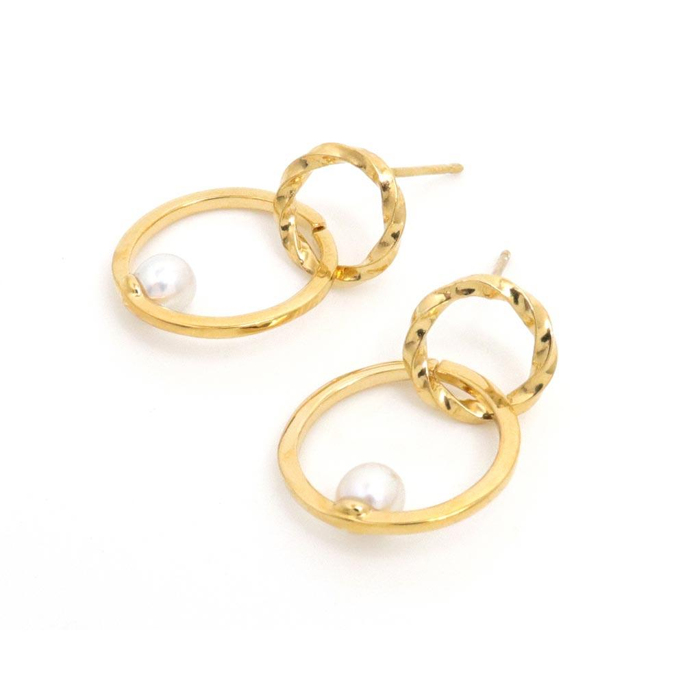 Akoya Cultured Pearl K22 Gold Plated Double Hoop Earrings - Osewaya