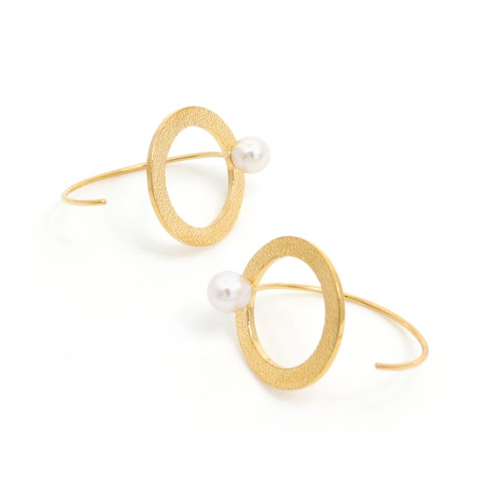 Akoya Cultured Pearl 22K Gold Plated Circle Earrings - Osewaya