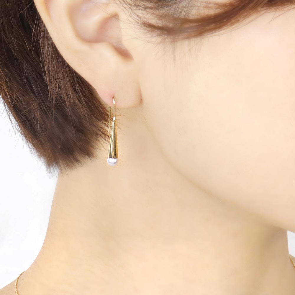Akoya Cultured Pearl 22K Gold Plated Cone Earrings - Osewaya
