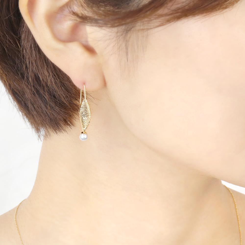 Akoya Cultured Pearl 22K Gold Plated Leaf Earrings - Osewaya