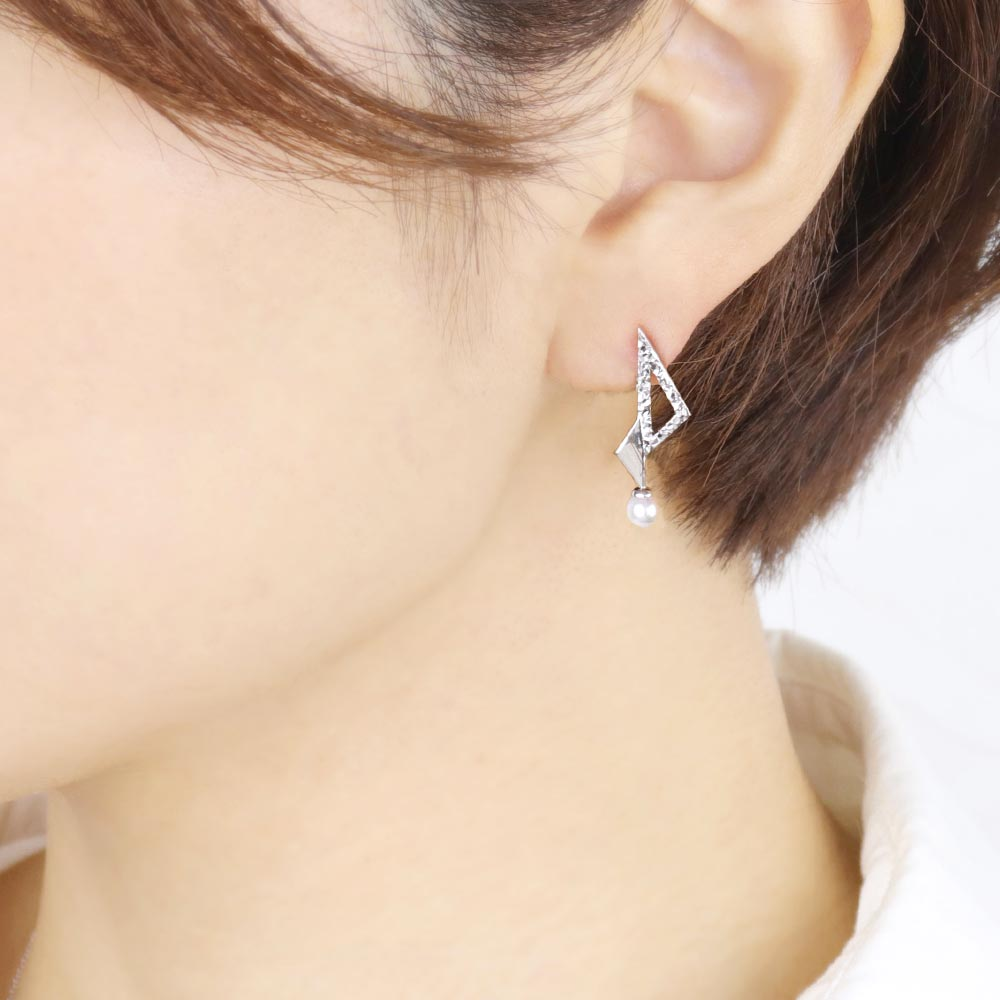 Akoya Cultured Pearl Platinum Plated Triangle Earrings - Osewaya