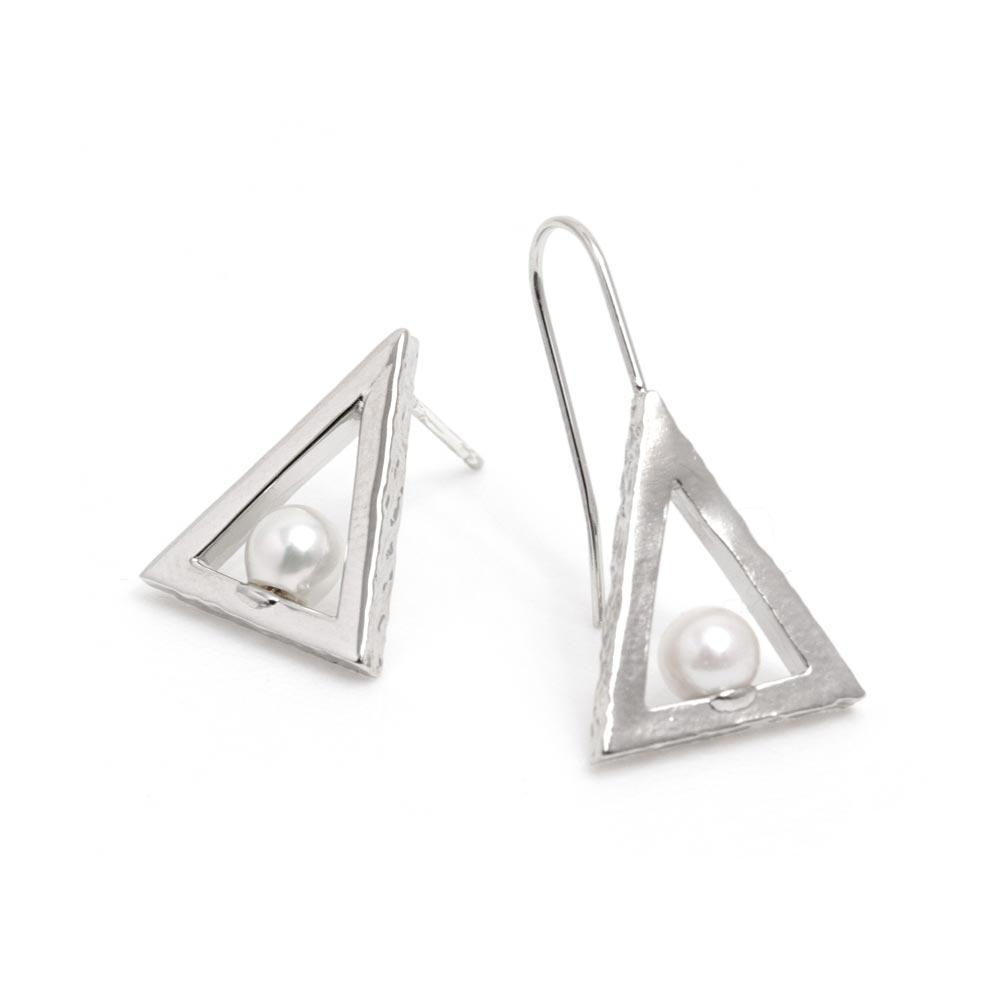 Akoya Cultured Pearl Platinum Plated Mix Post Triangle Earrings - Osewaya