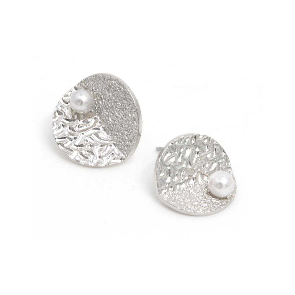Akoya Cultured Pearl Platinum Plated Textured Circle Earrings - Osewaya